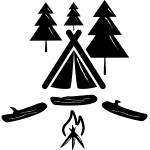 cort, brazi, foc, camping, grafic
